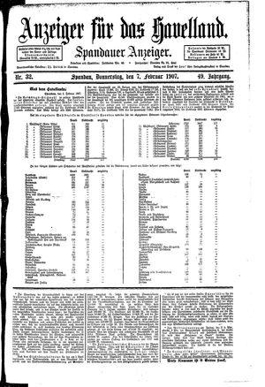 Anzeiger für das Havelland vom 07.02.1907