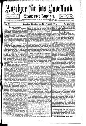 Anzeiger für das Havelland vom 12.02.1907