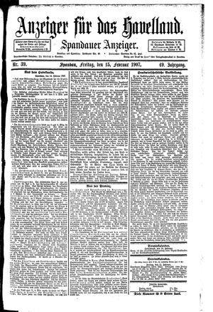 Anzeiger für das Havelland vom 15.02.1907