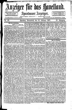Anzeiger für das Havelland vom 16.02.1907