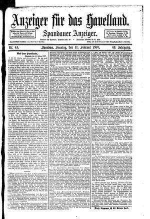 Anzeiger für das Havelland vom 17.02.1907