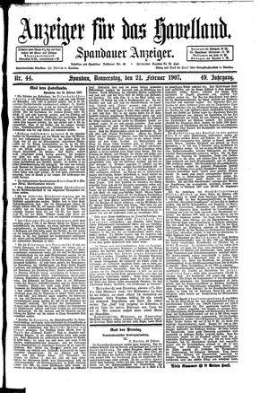 Anzeiger für das Havelland vom 21.02.1907