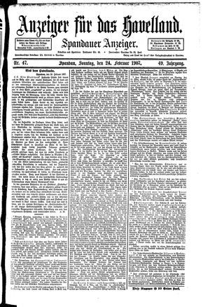 Anzeiger für das Havelland vom 24.02.1907
