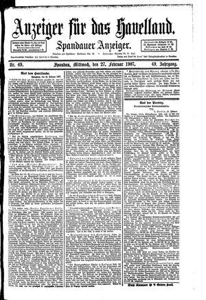 Anzeiger für das Havelland vom 27.02.1907