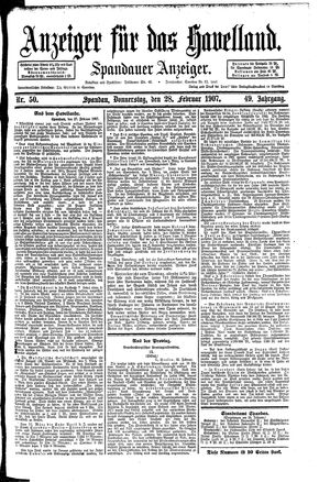 Anzeiger für das Havelland vom 28.02.1907