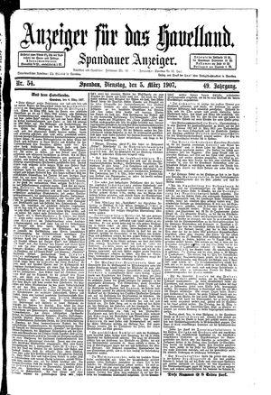 Anzeiger für das Havelland vom 05.03.1907
