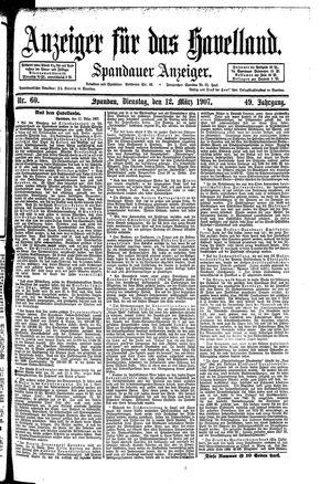 Anzeiger für das Havelland vom 12.03.1907