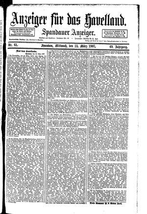 Anzeiger für das Havelland vom 13.03.1907