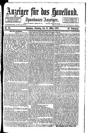 Anzeiger für das Havelland vom 17.03.1907