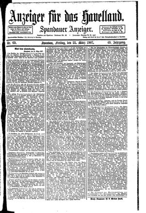 Anzeiger für das Havelland vom 22.03.1907