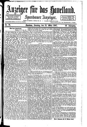 Anzeiger für das Havelland vom 31.03.1907