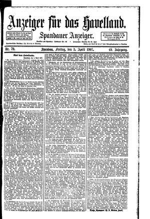 Anzeiger für das Havelland vom 05.04.1907