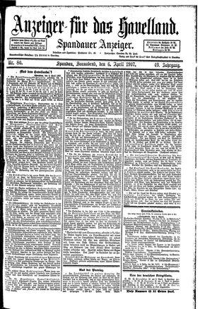 Anzeiger für das Havelland vom 06.04.1907