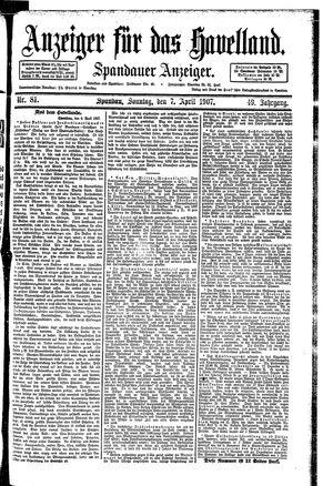 Anzeiger für das Havelland vom 07.04.1907