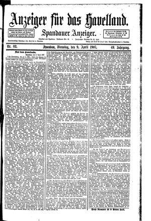 Anzeiger für das Havelland vom 09.04.1907