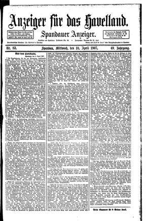 Anzeiger für das Havelland vom 10.04.1907