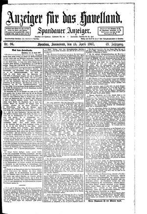 Anzeiger für das Havelland vom 13.04.1907