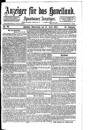 Anzeiger für das Havelland vom 18.04.1907