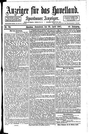 Anzeiger für das Havelland vom 20.04.1907