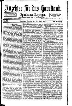 Anzeiger für das Havelland vom 21.04.1907