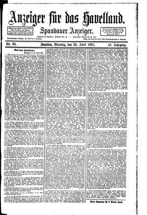 Anzeiger für das Havelland vom 23.04.1907
