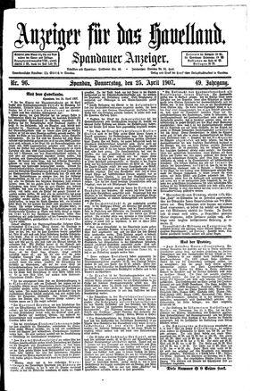 Anzeiger für das Havelland vom 25.04.1907