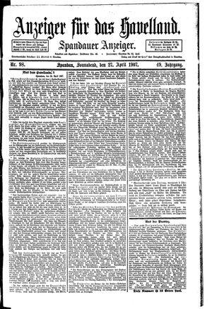 Anzeiger für das Havelland vom 27.04.1907