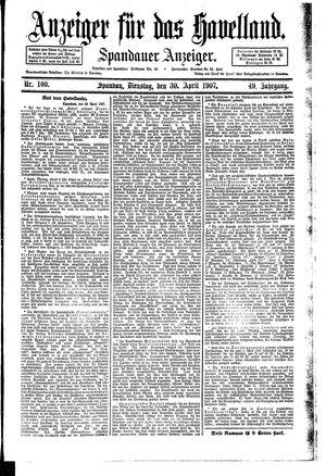 Anzeiger für das Havelland vom 30.04.1907