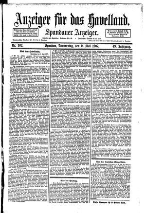 Anzeiger für das Havelland vom 02.05.1907