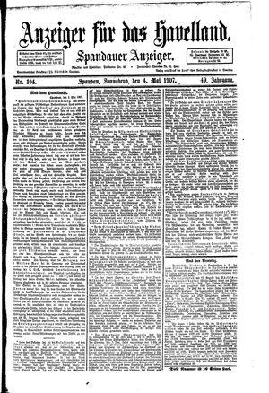 Anzeiger für das Havelland vom 04.05.1907