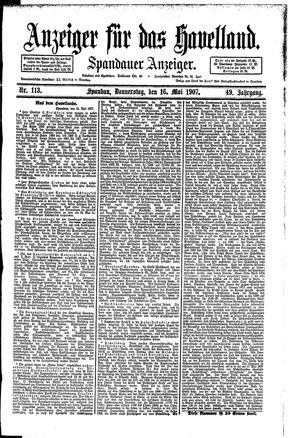 Anzeiger für das Havelland vom 16.05.1907