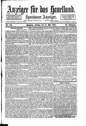 Anzeiger für das Havelland vom 17.05.1907