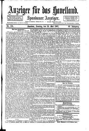 Anzeiger für das Havelland vom 19.05.1907