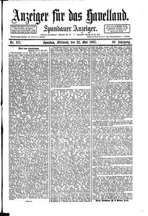 Anzeiger für das Havelland vom 22.05.1907