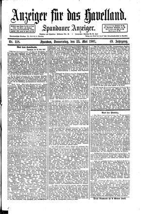 Anzeiger für das Havelland on May 23, 1907