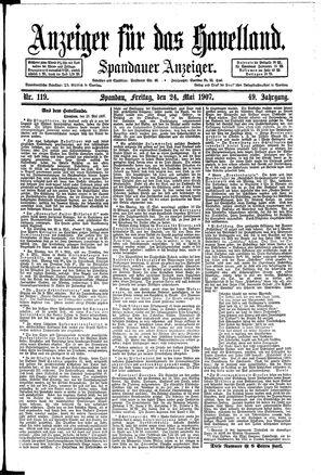 Anzeiger für das Havelland vom 24.05.1907