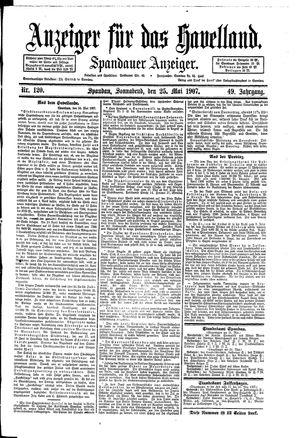 Anzeiger für das Havelland vom 25.05.1907