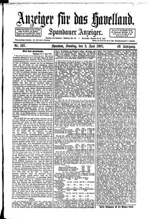 Anzeiger für das Havelland vom 02.06.1907