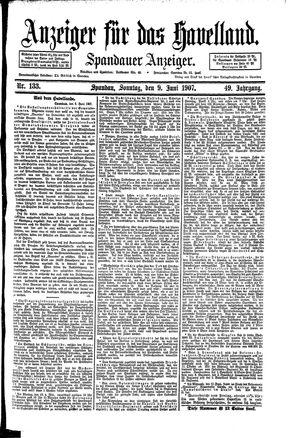 Anzeiger für das Havelland vom 09.06.1907