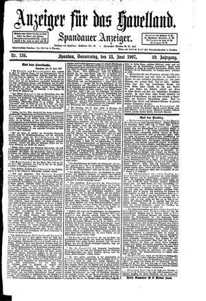 Anzeiger für das Havelland vom 13.06.1907