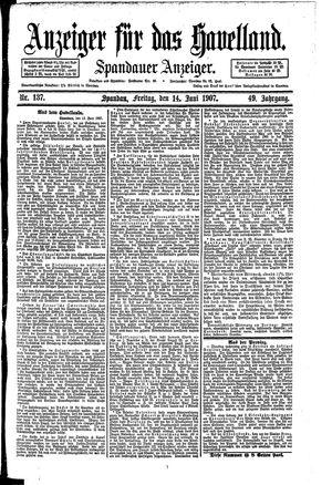 Anzeiger für das Havelland vom 14.06.1907