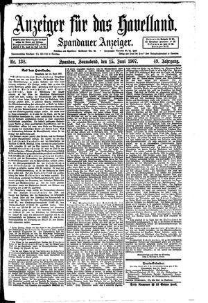 Anzeiger für das Havelland vom 15.06.1907