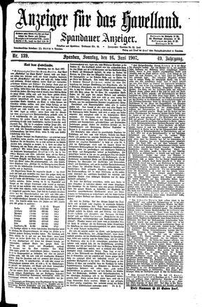 Anzeiger für das Havelland vom 16.06.1907