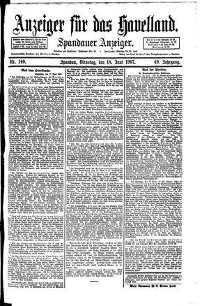 Anzeiger für das Havelland vom 18.06.1907