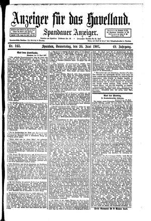 Anzeiger für das Havelland vom 20.06.1907