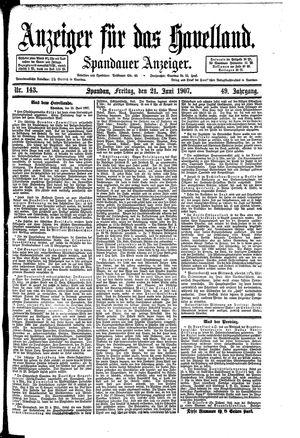 Anzeiger für das Havelland vom 21.06.1907