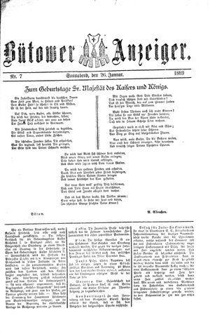 Bütower Anzeiger vom 26.01.1889