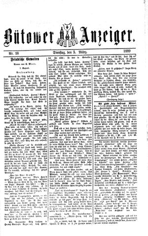 Bütower Anzeiger vom 05.03.1889