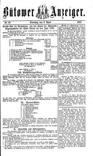 Bütower Anzeiger vom 02.04.1889