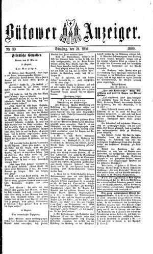Bütower Anzeiger vom 21.05.1889